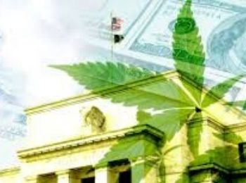 Government Building with funds, cannabis leaf