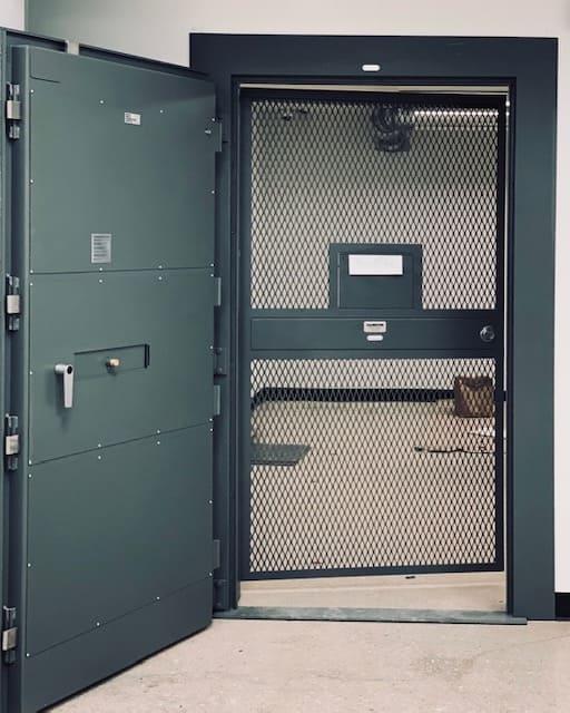 secure cannabis dispensary vault door
